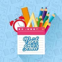 cartel de regreso a la escuela con material escolar vector