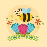 hello spring poster with flowers and bee flying vector