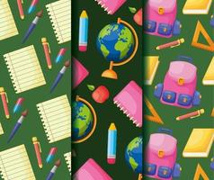 Back to school poster pattern background set vector