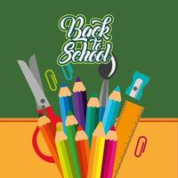 back to school poster with chalkboard and supplies vector
