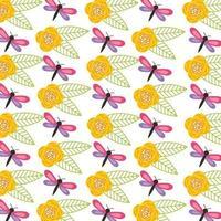 hola primavera patrón de fondo con flores y libélula vector