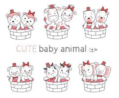 The cute baby animal cartoon with basket on white background. hand drawn style