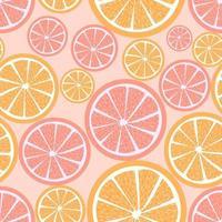 Fondo repetitivo cítricos de verano con rodajas de frutas vector