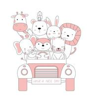 Cartoon sketch of cute baby animals in the car. Hand-drawn style. vector