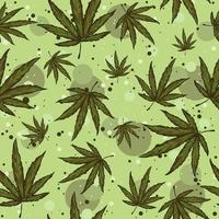 Green seamless pattern with hemp leaves and circles on the background. vector