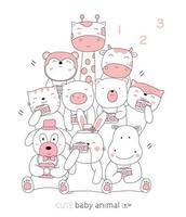 estilo dibujado a mano. dibujos animados de animales bebé vector