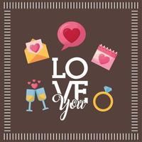 Valentine's Day design with icons vector