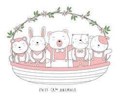 Cartoon cute baby animals with a flower basket. Hand-drawn style.