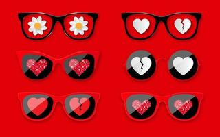 Happy Valentines Day. Set sunglasses with hearts. Fashionable glasses for Valentine's Day holiday design. vector