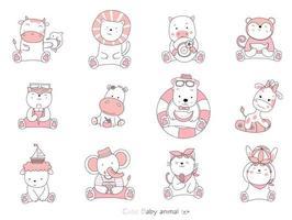 conjunto de animales bebé de dibujos animados sobre fondo blanco. estilo dibujado a mano. vector