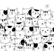 dibujado a mano estilo blanco lindo gato animal dibujos animados vector