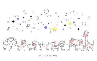 Hand drawn style. Cartoon sketch the cute baby animal vector