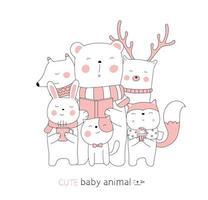 Cartoon cute baby animals. Hand-drawn style. vector