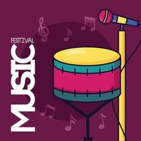 cartel del festival de música con tambor y micrófono.
