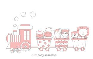Cartoon sketch of cute baby animals on a train. Hand-drawn style. vector