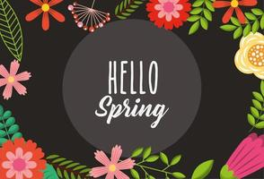 hello spring poster with floral frame vector