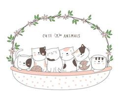 Cartoon cute baby cats with a flower basket. Hand-drawn style.