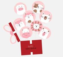 Cartoon cute baby animals with pink balloon and gift box. Hand drawn style. vector
