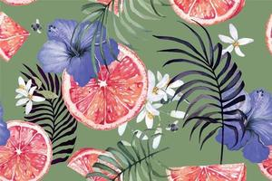 Seamless pattern of tangerines and hibiscus vector