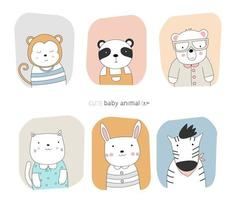 Cartoon baby animals with frame color backgrounds.  Hand-drawn style. vector