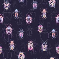 Different types of bugs seamless pattern vector