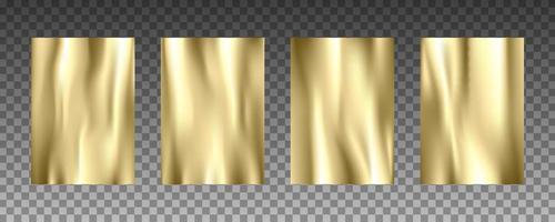 Gold foil 3d realistic vector textures set