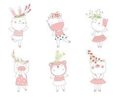 dibujos animados de animales bebés encantadores. estilo dibujado a mano. vector