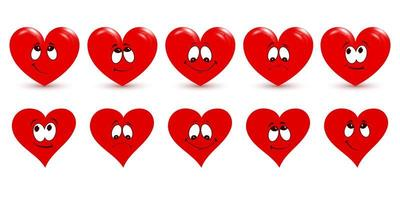 Set of red hearts on white background. The main symbol of Happy Valentine's Day. vector