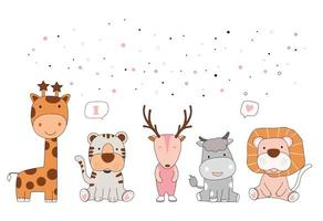 Hand drawn style white cute animal cartoon vector