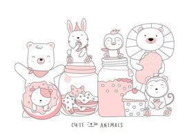 dibujos animados lindo bebé animales con comida. estilo dibujado a mano. vector