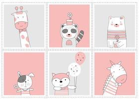 Cute baby animals. Cartoon sketch animal style vector