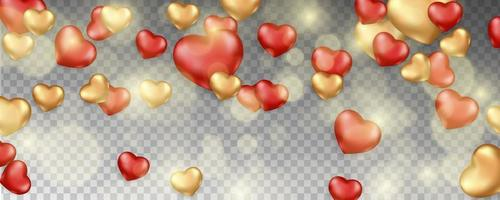Romantic background with falling hearts vector