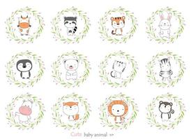 Cartoon baby animals with flower borders. Hand-drawn style. vector