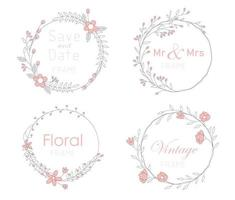 Set of cards with floral frames. Wedding ornament concept. vector