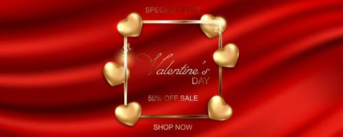 Happy Valentines Day sale banner on silk fabric background vector