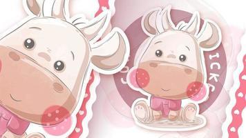 Cute cow in sticker style