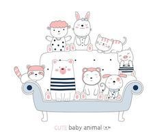 Cartoon cute baby animals on a blue chair. Hand-drawn style. vector