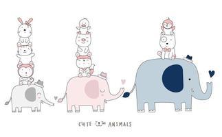 dibujos animados lindos elefantes y bebés. estilo dibujado a mano. vector