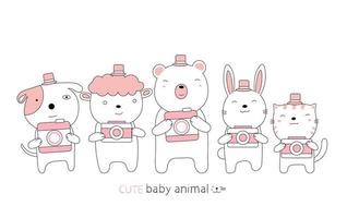 Cartoon cute baby animals and cameras. Hand-drawn style. vector