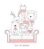 Cartoon cute animals on the sofa. Hand-drawn style. vector