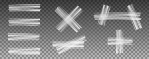 conjunto de cinta adhesiva transparente vector