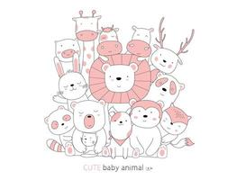 Hand drawn style. Cartoon sketch the cute posture baby animals vector