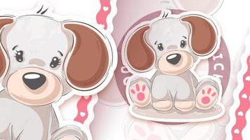 Puppy dog in sticker style