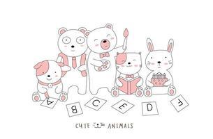 estilo dibujado a mano. bosquejo de dibujos animados la postura linda animales bebés vector