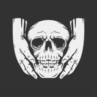 dos manos llevando el cráneo vector