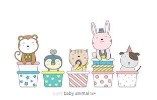 Cartoon cute baby animals on cupcakes. Hand-drawn style. vector