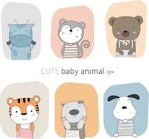 Hand drawn cute baby animals with color frame backgrounds vector