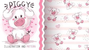 Cute piggy seamless pattern vector