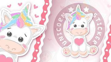 Cute unicorn - sticker for your idea vector