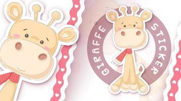 Cute giraffe character in sticker style vector